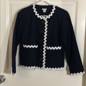 Navy blue and white blazer